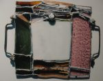 Stained glass with copper woven in