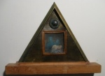 solarized treatment of photo matted in a hand made triangular frame