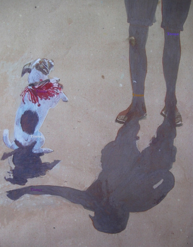 an expressive shadow from the owner of a small white dog with brown ears, face, ring around the tail and large spot on the back, standing on its feet, tells the story of why the dog is standing.